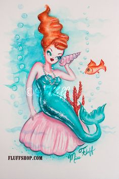 Redhead Pin Up Mermaid Original Painting  by Miss Fluff on Etsy. Inspired by vintage mermaid illustrations and decals of the 1950's.