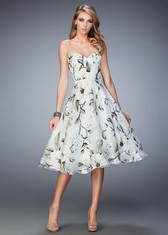 2016 Elegant Vintage Style Floral Print Multi Tea Length Prom Dress