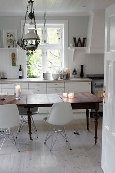 modern chairs with farmhouse table