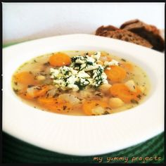 Kichererbsen-Suppe mit Feta-Dill-Topping, chickpeas soup with feta-dill-topping