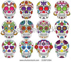 Vector Set of Day of the Dead or Sugar Skulls by PinkPueblo, via Shutterstock