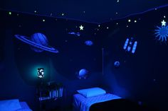 Dark ceiling - blue and gray Ceiling for outer-space inspired nursery, for boy nursery above nursery clouds on bottom navy paint with glow in the dark…