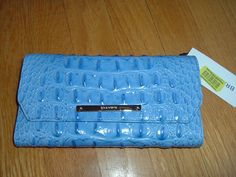 New With Tags Brahmin Blue Leather Checkbook Clutch Wallet