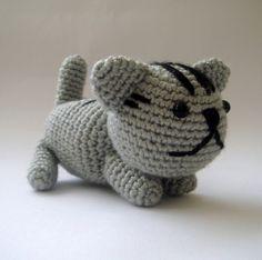 Grey Plush crochet Cat Christmas Hostess Gift