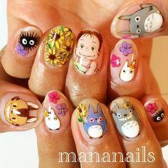 I don't usually pin nails but these My Neighbor Totoro nails are fantastic! I don't usually pin nails but these My Neighbor Totoro nails are fantastic! Totoro, Love Nails, Fun Nails, Anime Nails, Kawaii Nails, Nail Art Studio, Cute Nail Art Designs, Nail Arts, Trendy Nails