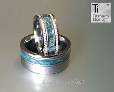 Hers: titanium base ring with crushed blue inlay and double eternity diamonds. His: titanium and crushed blue gemstone inlay Matching Wedding Bands, Wedding Rings, Blue Gemstones, Titanium Rings, Blue Rings, Gemstone Rings, Diamonds, Base, Engagement Rings