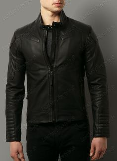 New Men's Leather Jacket Black Slim fit Motorcycle Real lambskin jacket D06 #LeatherLifestyle #Motorcycle
