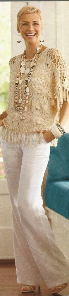 Beige Fringe Pullover Sweater, Ecru Pant See other ideas and pictures from the category menu…. Faneks healthy and active life ideasRead More → Hairpin Lace Crochet, Broomstick Lace, Lace Outfit, Women Life, Lace Tops, Hair Pins, Pullover Sweaters, Pants For Women, Crochet Ideas