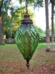 Light up your life with this classic vintage swag lamp—complete with the original chain (which is really cool btw). The hand blown gla. Old Lamps, Antique Lamps, Vintage Lamps, Vintage Lighting, Hanging Lanterns, Hanging Lights, Boho Lighting, Outdoor Lighting, Antique Light Fixtures