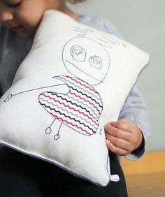 Il était une x une étoile : coussins à partir de dessins d'enfants