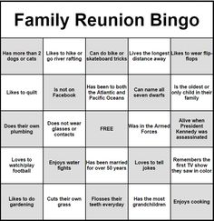 People Bingo Rules & Cards - Icebreaker Ideas More Family Reunion Themes, Family Reunion Activities, Family Reunion Shirts, Family Games, Family Reunions, Family Gatherings, Youth Activities, Group Games, Exercise Activities