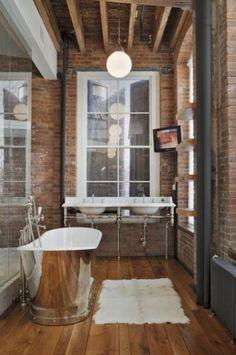 Exposed Brick Bathroom Design Ideas, Pictures, Remodel and Decor Brick Bathroom, Loft Bathroom, Eclectic Bathroom, Modern Bathroom, Bathroom Interior, Simple Bathroom, Washroom, Silver Bathroom, Bathroom Green