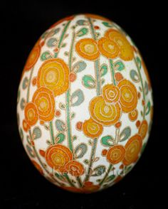 "©Katy David 2016 ""Apricot"" Chicken eggshell, aniline dye, varnish. For more photos, go to http://katydavidart.blogspot.com/2016/12/friday-egg-apricot.html"