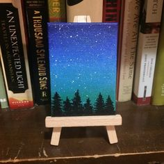 Galaxy Mini Painting Night Sky Scene Tree Silhouette Blue Green Black Nature Landscape Original Art Alcohol Ink on Canvas Board ACEO Small Canvas Paintings, Small Canvas Art, Mini Canvas Art, Simple Acrylic Paintings, Mini Paintings, Night Sky Painting, Galaxy Painting, Canvas Painting Tutorials, Acrylic Painting For Beginners