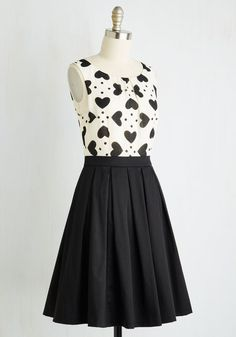 Chic Sweetheart Dress. You adore fashion that highlights your lovable attributes, which makes this fit and flare dress an ideal addition to your collection! #black #modcloth