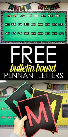 Quick and Easy Bulletin Boards with Free Pennant Letters - Kindergarten New Classroom, Kindergarten Classroom, Classroom Themes, Classroom Organization, Classroom Management, Classroom Board, Neon Classroom Decor, Organization Ideas, Classroom Bunting