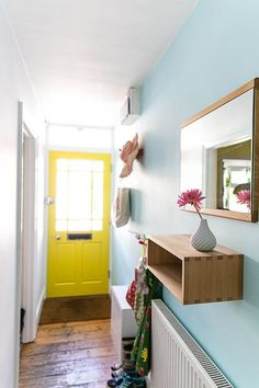 Hallway colour schemes – Hallway colour ideas – Hallway colours - New ideas Hallway Colours, House, Yellow Doors, Yellow Hallway, Home, Front Doors Uk, Yellow Front Doors, Hallway Colour Schemes, Inside Front Doors