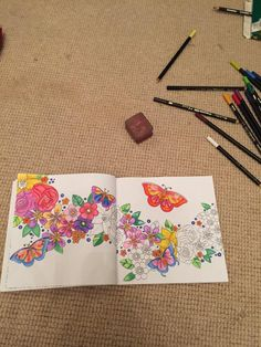 Mid colour! @orionbooks @acatris #colouringbooks #colourmemindful #butterflies #adultcolouring