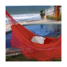 Large Caliente Brazilian Hammock with Fringe (66 CAD) ❤ liked on Polyvore featuring home, outdoors, patio furniture and hammocks & swings
