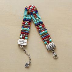 Santa Fe artist Adonnah Langer looms - tissage perles de rocaille et facettes