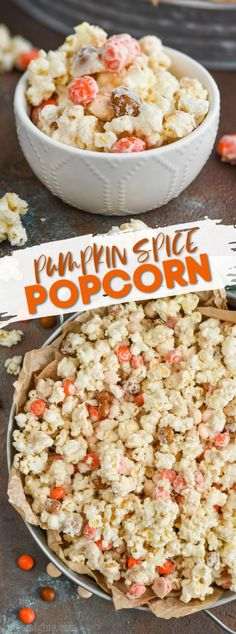 This Pumpkin Spice White Chocolate Popcorn is very simple to make but delicious and addictive! A great popcorn recipe perfect for celebrations and parties! Thanksgiving Recipes, Fall Recipes, Holiday Recipes, Vegan Recipes, Cooking Recipes, Appetizer Recipes, Snack Recipes, Party Recipes, Appetizers