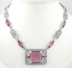 1930s Art Deco Vintage Purple Faceted Glass Filigree Rhodium Plated Necklace | eBay