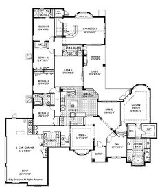 Floor Plans AFLFPW02368 - 1 Story Mediterranean Home with 5 Bedrooms, 4 Bathrooms and 4,378 total Square Feet