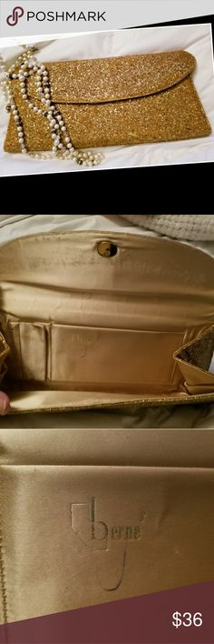 Vintage Gold Glitter Purse Clutch Berne of Cali Glittery, sparkly and classy! The outside is in beautiful condition with some wear and missing glitter along the top fold and ends if you are looking (see pics). Inside has some markings and wear around fastener. See pics. Berne of California Bags Clutches & Wristlets