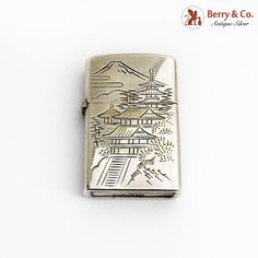 Light Words, Smoking Accessories, Vintage Japanese, Lighter, Antique Silver, Monogram, Bright, Sterling Silver, Antiques