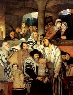 The Holiest of days in Judiasm is Yom Kippur. Here Jews are praying together at a temple on Yom Kippur    Maury Gottlieb (1856 - 1879)