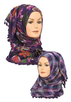 Purple Reversible Floral & Checked 2 in 1 Hijab    Available at www.hijabbella.com
