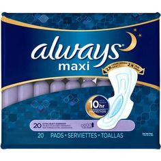 Always Maxi Extra Heavy Overnight Pads with Flexi-Wings, (Choose your Count)