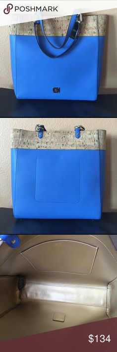 """RALPH LAUREN Hanway Cork Tote Shopper Purse NWT HANWAY CORK TOTE in Lighthouse Blue, Sophisticated and Spacious. Brand new with original tags.PRODUCT DETAILS: 9"""" drop silver chain shoulder strap, top magnetic snap closure, protective metal feet, one inside slide pocket, lined in shiny gold. Measures 14"""" wide at base and 15.25"""" tall. Ralph Lauren Bags Totes"""
