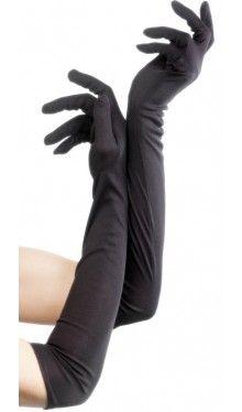 Lange schwarze Handschuhe 52cm