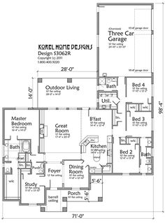 3062 SF.  4 BR, 4 BA with study, 3 car garage.  House Plans by Korel Home Designs