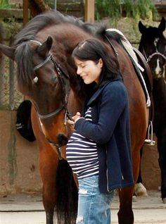 Selma Blair    Being mega pregnant doesn't stop Selma Blair from spending lots of time and energy with her beloved horse, Taffy.