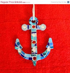 Mosaic Anchor Ornament Suncatcher or Paper Weight OOAK by zzbob