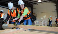 Program trains women for construction jobs; Construction Contractors, Construction Jobs, Power Engineering, Civil Engineering, Orange Vests, Girls Show, Girls Be Like, Elephants, Women Empowerment