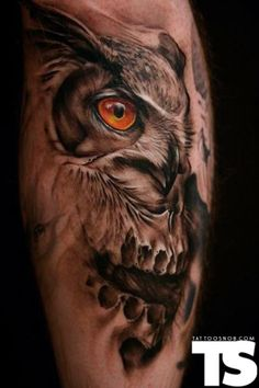 owl and skull.   tattoosnob.com . #Tattoos #Girls