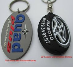 3D embossed soft pvc keychain