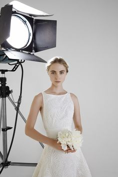 ADRIANNE: Ball gown in silk cord embroidered tulle with gros grain belt