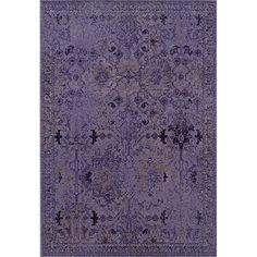 Over-dyed Distressed Traditional Purple/ Grey Area Rug (5' x 7'6)