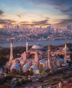 Hagia Sophia, Istanbul, Turkey - CityPorn Byzantine Architecture, Mosque Architecture, Istanbul City, Istanbul Travel, Beautiful Places To Visit, Wonderful Places, Mekka Islam, Aya Sophia, Places To Travel