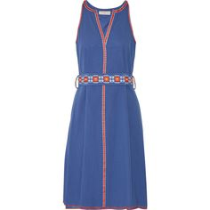Tory Burch Savannah embroidered cotton and linen-blend crepon dress,... (10,445 MXN) ❤ liked on Polyvore featuring dresses, blue embroidered dress, tory burch, embroidery dress, vintage embroidered dress and cotton linen dresses