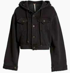 Hooded & Cropped In Charcoal Black. Size XS Bust Length Sleeve Length From Cuff To Collar People Brand, Free People Jacket, The Dreamers, Parka, Convertible, Hoods, Bell Sleeves, Windbreaker, Raincoat