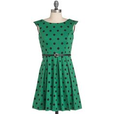 A Grand Weekday Out Dress in Dots ($41) ❤ liked on Polyvore featuring dresses, polka dots, green dresses, green, pleated, sleeveless, short, a-line, casual and belted