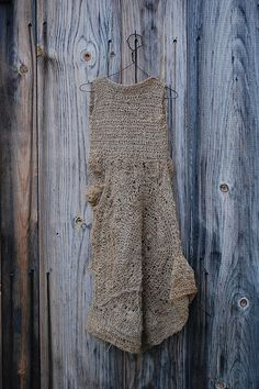 enhabiten: gifted - dress crocheted using unravelled yarn from a burlap sack, made by Jennifer at imogen lovely Peau Lainee, Magnolia Pearl, Textiles, Art Textile, Yohji Yamamoto, Crochet Fashion, Crochet Clothes, Blue Grey, Knitwear