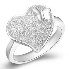Platinum Plated Heart Butterfly Micro inserts Ring$7.59
