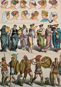 Antique print.1884. Lithograph.129 years old print. Characters,vestments and Fashion of Greek People in the Ancient era. 11,50x8,40 inches