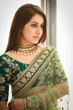 Indian Filmy Actress Rashi Khanna In Green Saree Sabyasachi Sarees, Patiala Salwar, Indian Sarees, Sabyasachi Designer, Designer Sarees, Designer Dresses, Indian Blouse, Anarkali, Silk Sarees